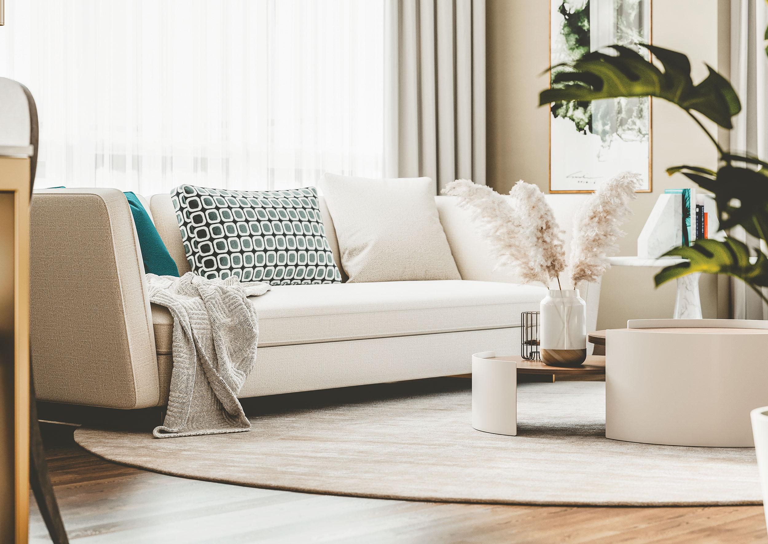Salon d'appartement de luxe à louer à Montréal